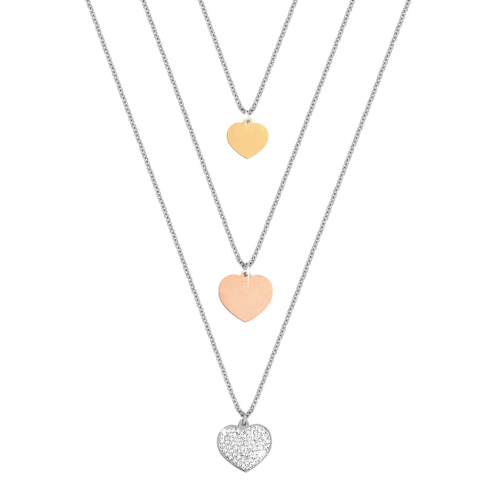 Collana donna Essential tripla con Cuori e cristalli - Silver, Gold e Rose Gold - Beloved Gioielli