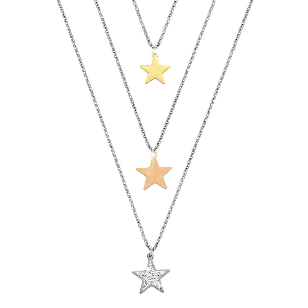 Collana donna Essential tripla con Stelle e cristalli - Silver, Gold e Rose Gold - Beloved Gioielli