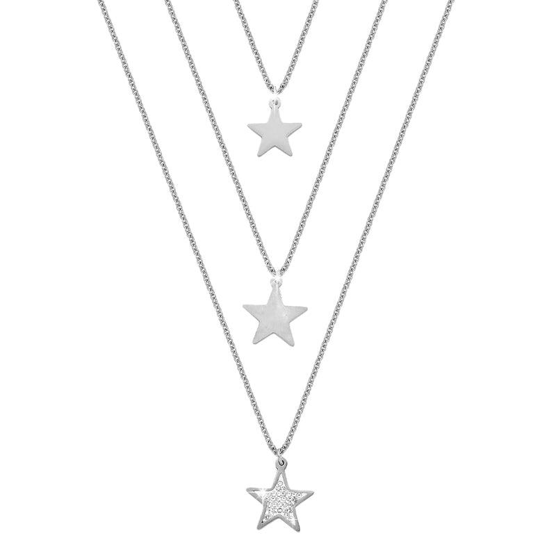 Collana donna Essential tripla con Stelle e cristalli - Silver - Beloved Gioielli