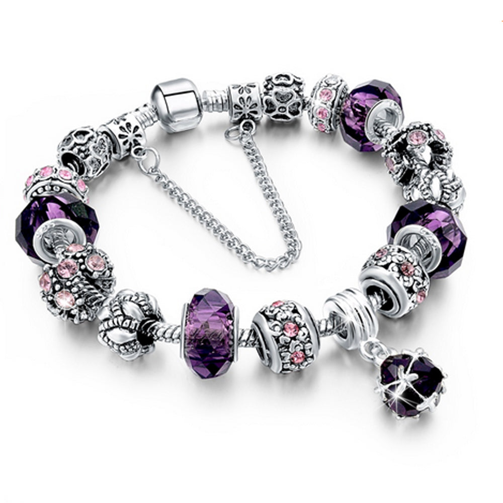 Bracciale Chain con beads e cristalli - VIOLA - Beloved Gioielli