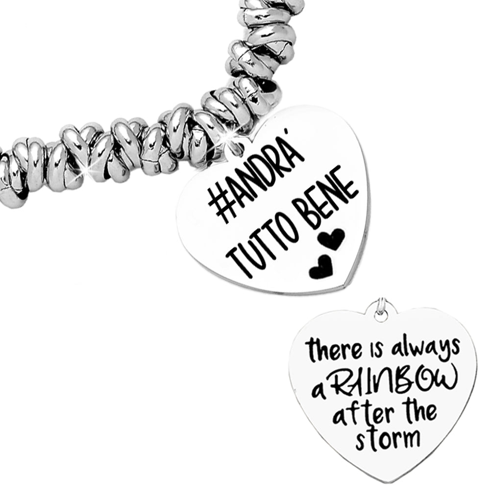 "Bracciale con nodini in acciaio silver e doppia incisione - ""There is always.."" - Beloved Gioielli"