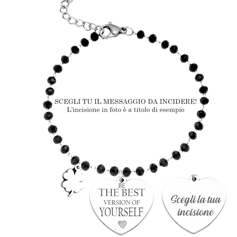 "Bracciale Cristalli Briolè neri con incisione - ""Be the best version of yourself"" - Beloved Gioielli"