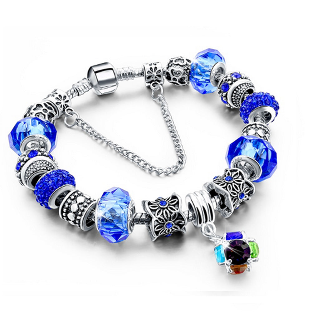 Bracciale Chain con beads e cristalli - BLU - Beloved Gioielli