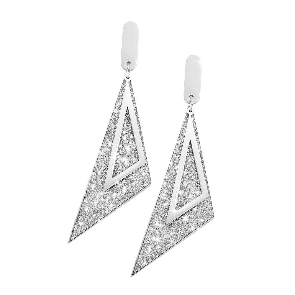 Orecchini Glitter Triangle - Silver - Beloved Gioielli