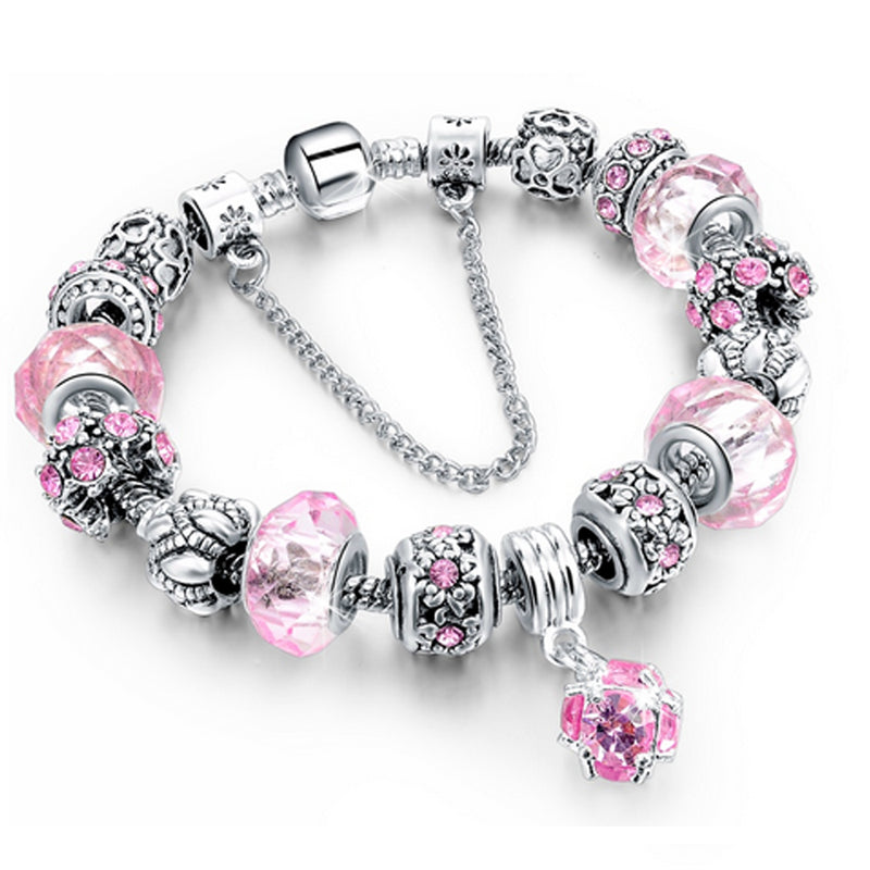 Bracciale Chain con beads e cristalli - ROSA - Beloved Gioielli