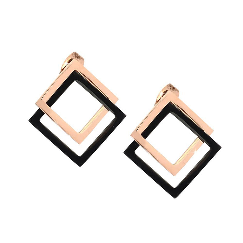 Orecchini Squared Enamel - Rose gold - Beloved Gioielli