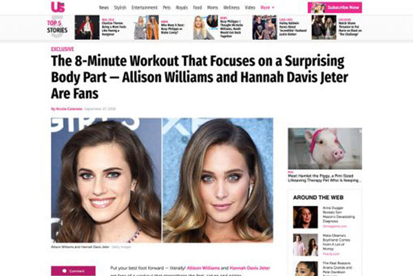 US MAGAZINE: THE 8-MINUTE WORKOUT THAT FOCUSES ON A SURPRISING BODY PART — ALLISON WILLIAMS AND HANNAH DAVIS JETER ARE FANS