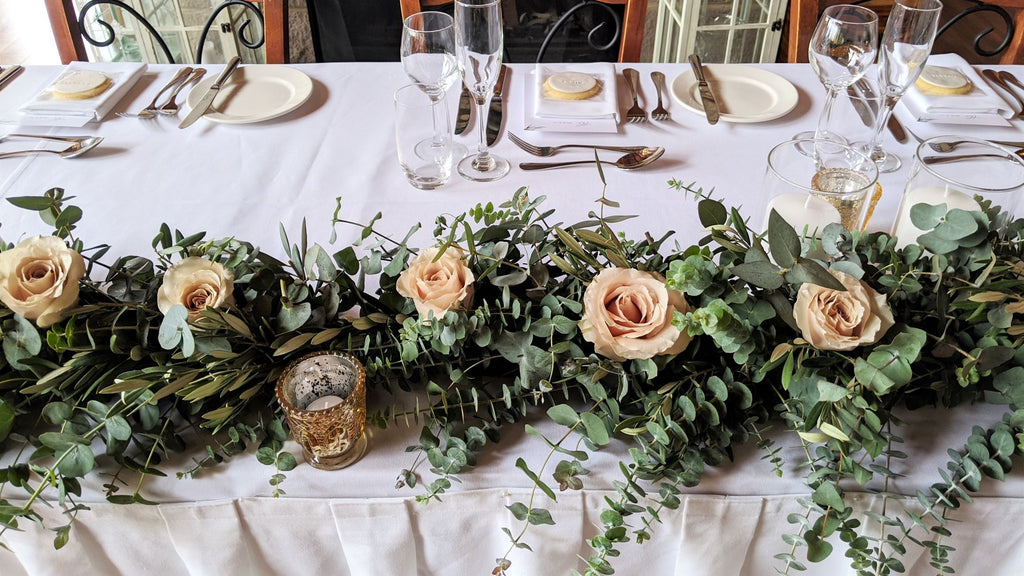 Botanical Art Florist Blue Mountains Wedding Flowers Reception Bridal Table Runner
