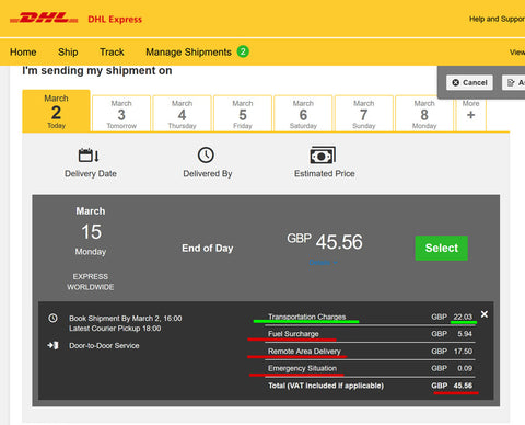 DHL - additional costs may apply