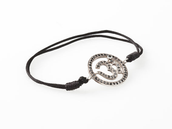 AUM by La Chance - Amulet w blk diamonds/silver