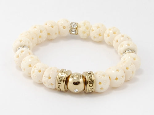 Bone Beads- Crystal Happy Bead