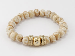 Bone Beads- Happy Bead- Two tone