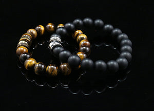 Januar 2020 Sale - Happy Bead Onyks+Tigerøje (2stk)