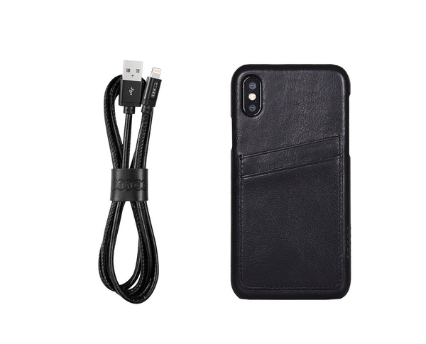 iPhone Leather Case + Lightning Cable Bundle
