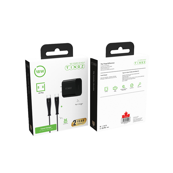 My Combo Bundle 2-in-1 Travel Charger US plug with 2M cable