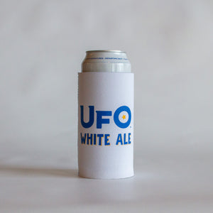 White UFO Can Koozie 16oz