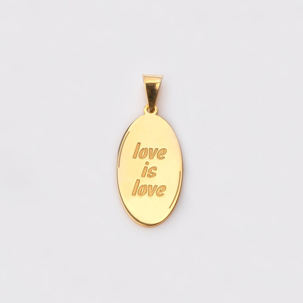 "Catchphrase ""love is love"" pendant gold"