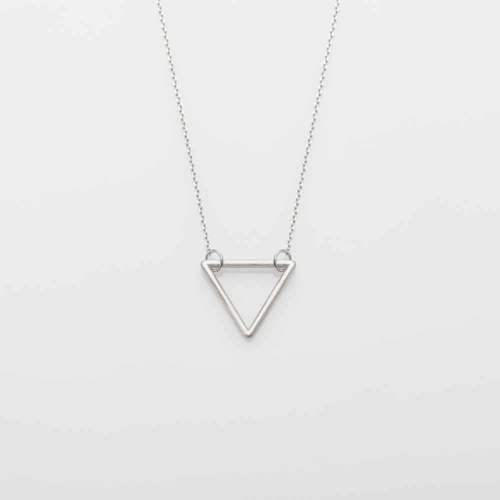 Wire Triangle Necklace Silver