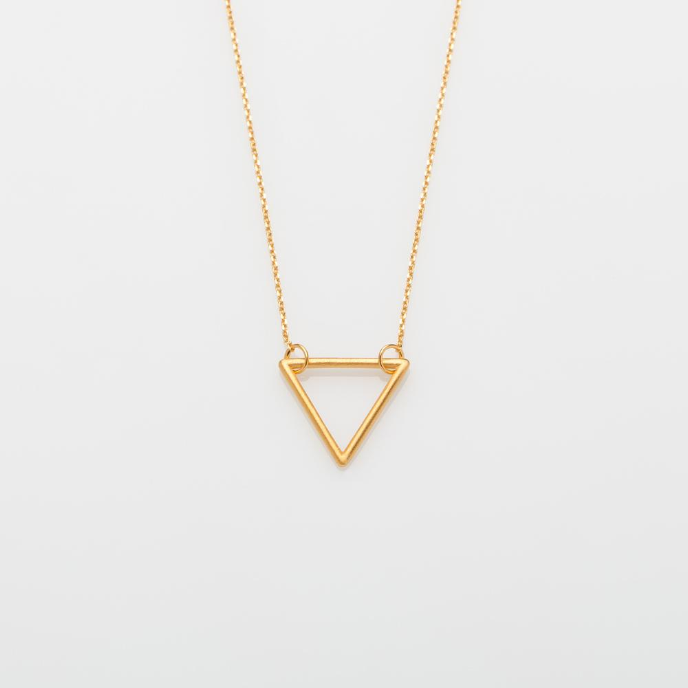 Wire triangle necklace gold