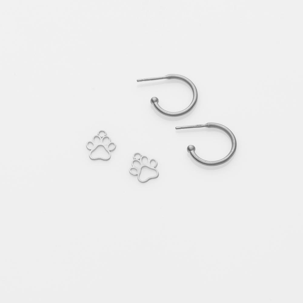Toy paw earring charm silver