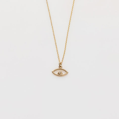 Aye necklace 14K yellow gold with diamond