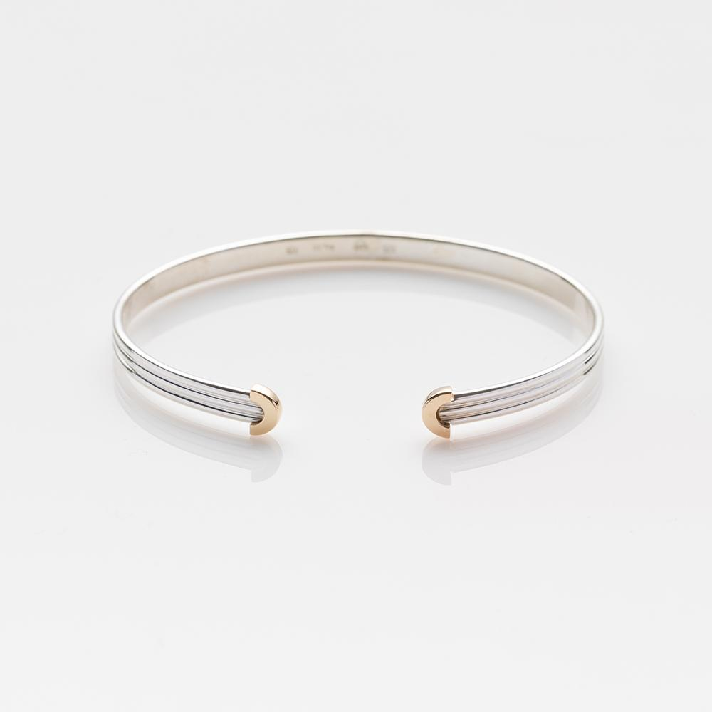 Chords bracelet silver with gold arches