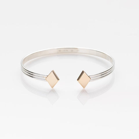 Chords bracelet silver with gold rhombi