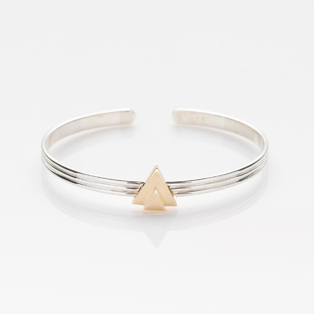 Chords bracelet silver with gold triangles