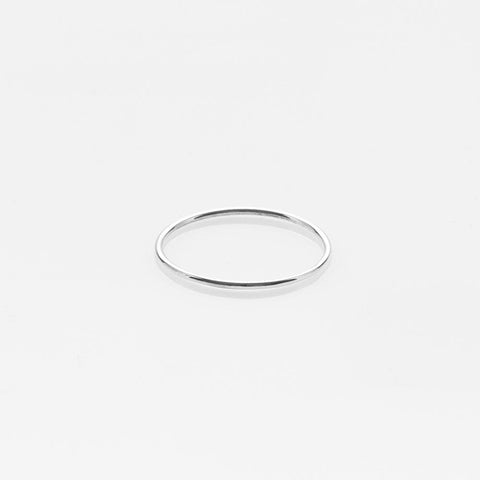 Wire band ring white gold 14Κ