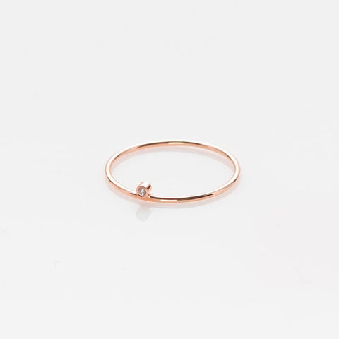 Wire band ring rose gold 14K with diamond