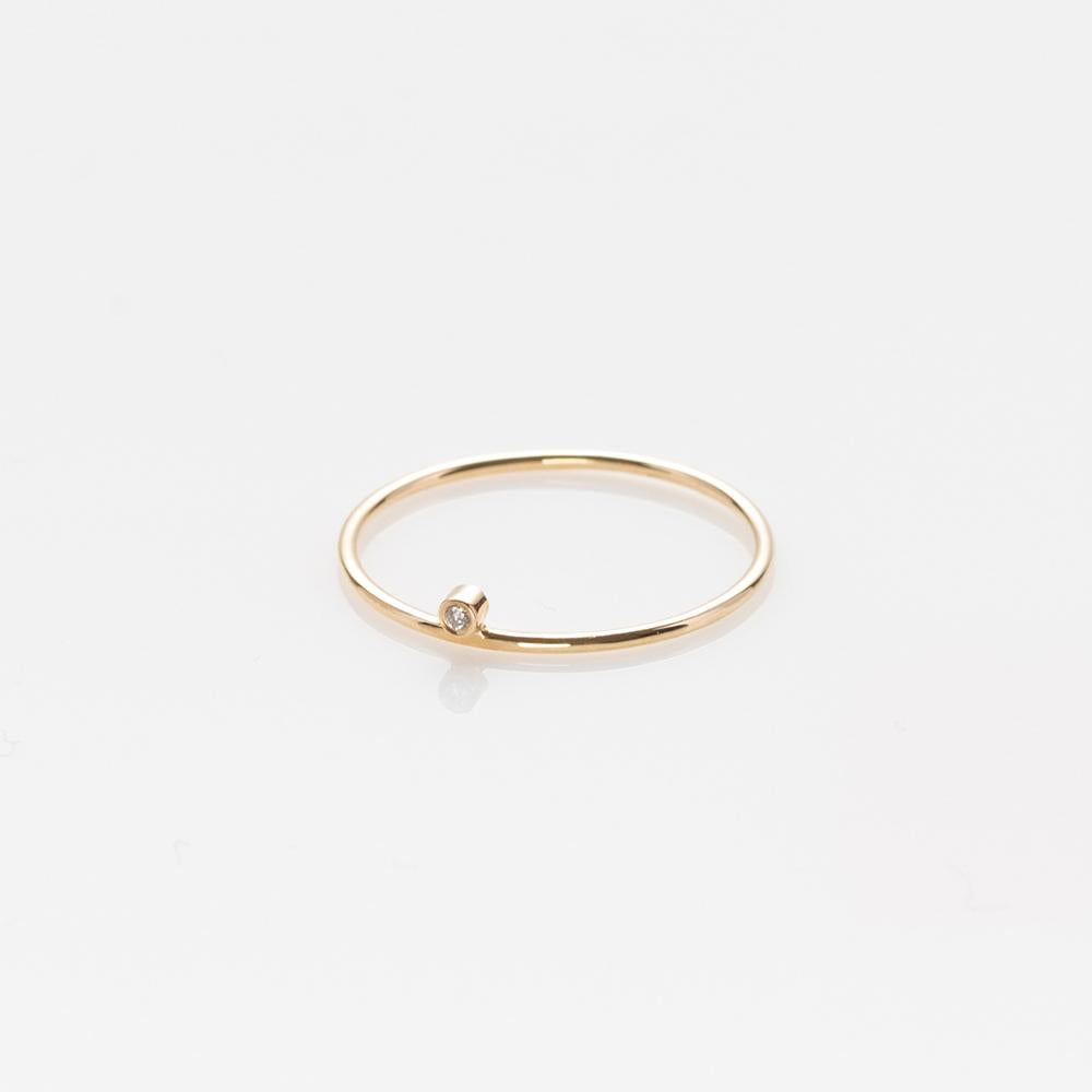 Wire band ring yellow gold 14K with diamond