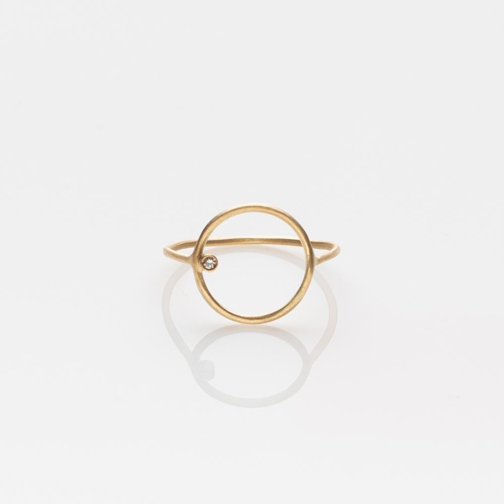 Wire circle ring yellow gold 14K with diamond