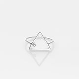 Wire triangle ring white gold 14K with diamond