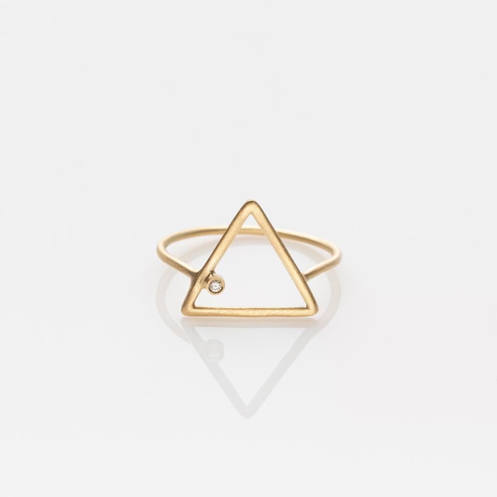 Wire triangle ring yellow gold 14K with diamond