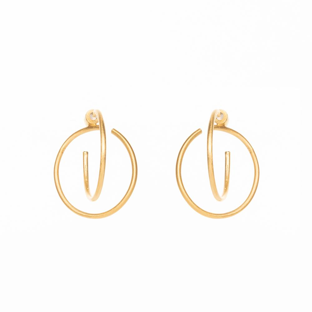 Gang double matte earrings gold