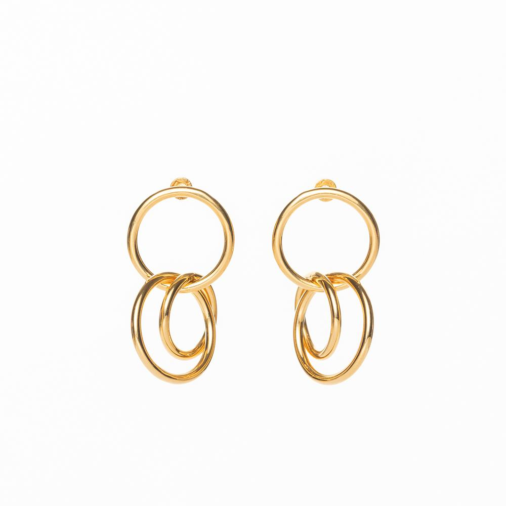 Gang triple polished earrings gold