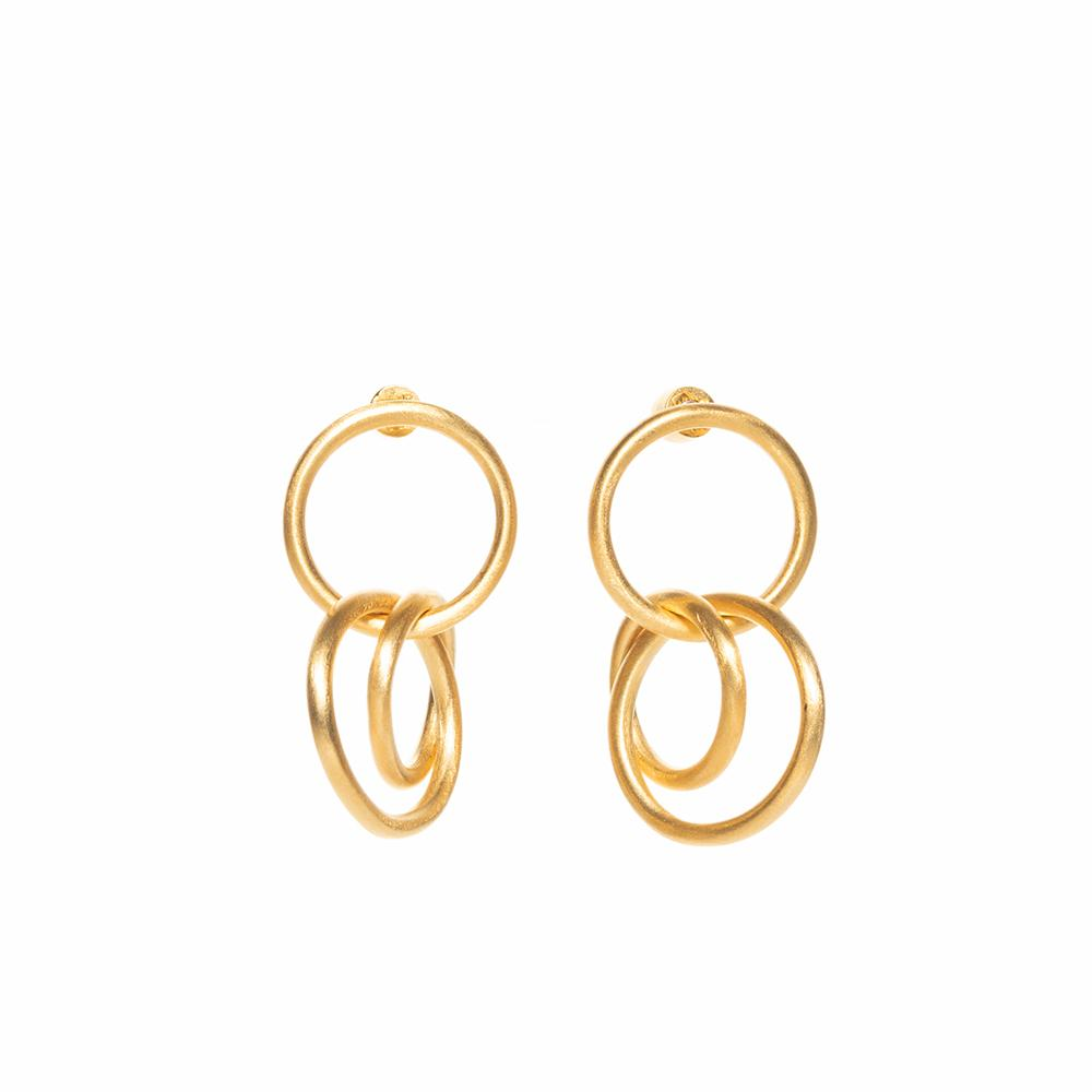 Gang triple matte earrings gold