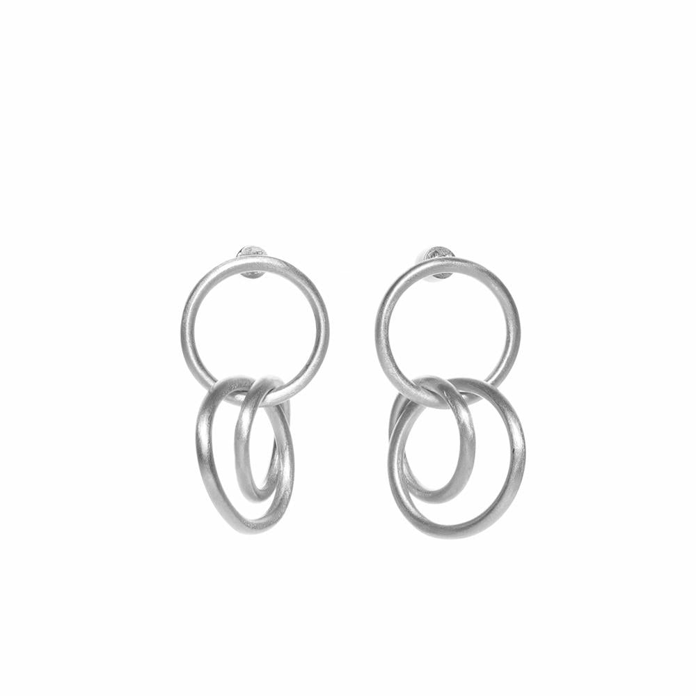 Gang triple matte earrings silver