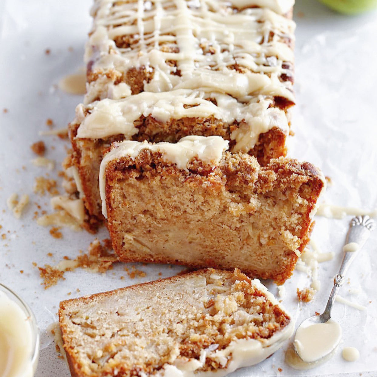 Apple Crumble Loaf Cake with Maple Glaze