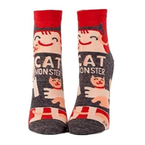 Blue Q Womens SW618 Cotton Ankle Fashion Socks, Cat Monster, One Size