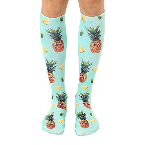 Living Royal Unisex Knee High Fashion Socks, Googly Pineapples, One Size