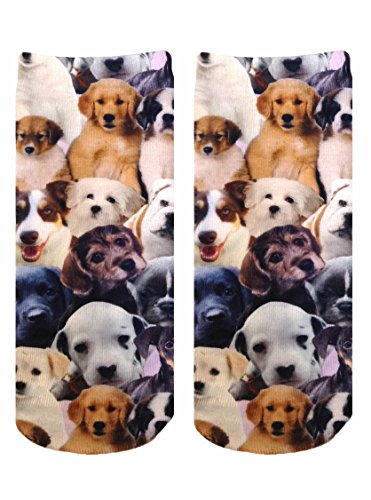 Living Royal Unisex Ankle Fashion Socks, Puppy All Over, One Size