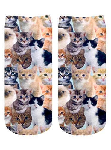 Living Royal Unisex Ankle Fashion Socks, Kitty All Over, One Size