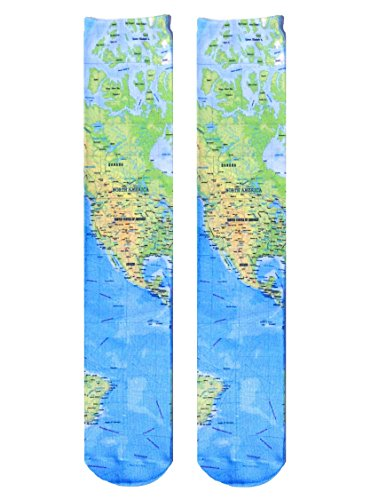 Living Royal Unisex Knee High Fashion Socks, Map, One Size