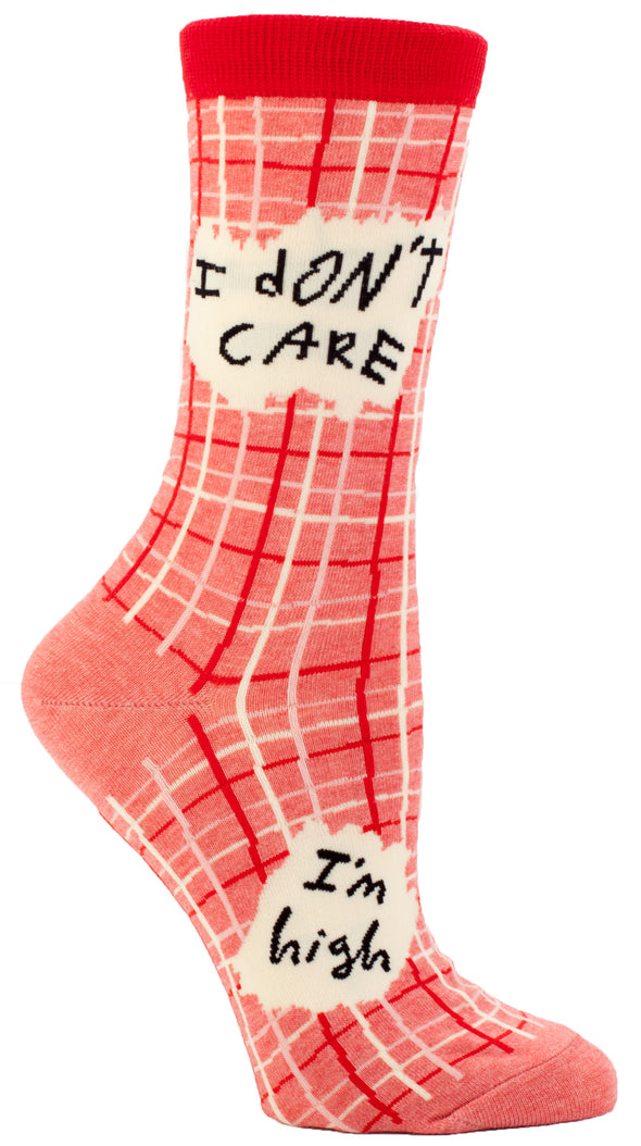 Blue Q Womens SW445 Cotton Crew Fashion Socks, I Don't Care I'm High, One Size