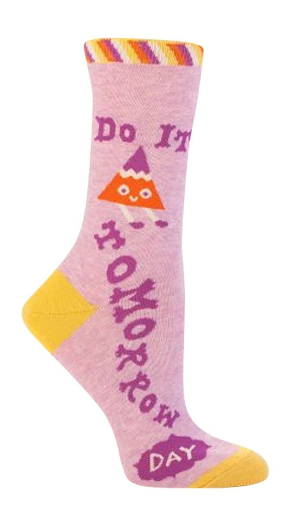 Blue Q Womens SW455 Cotton Crew Fashion Socks, Do It Tomorrow, One Size
