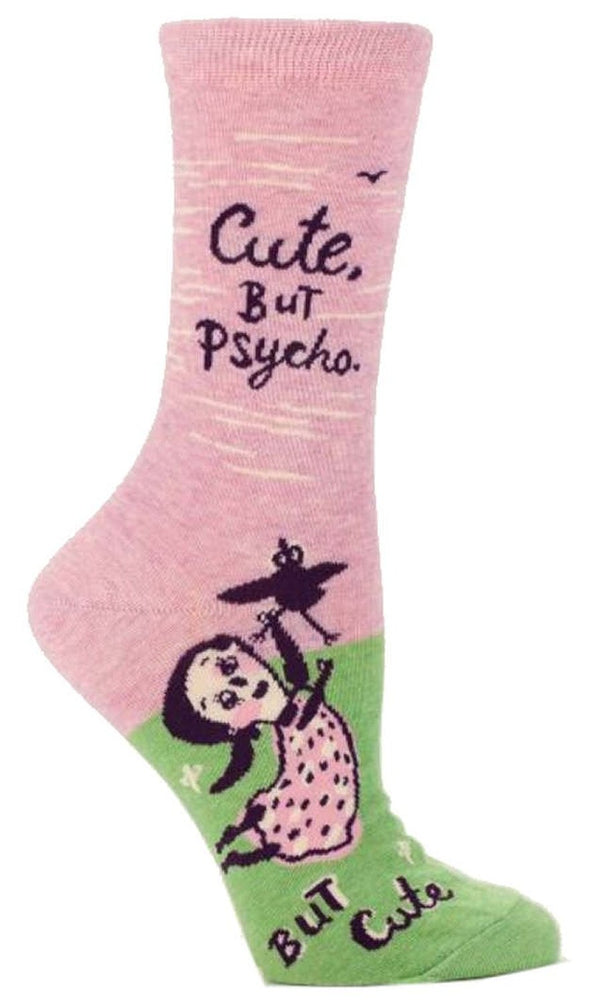 Blue Q Womens SW459 Cotton Crew Fashion Socks, Cute. But Psycho., One Size