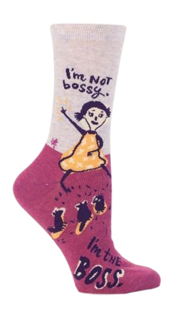 Blue Q Womens SW460 Cotton Crew Fashion Socks, I'm Not Bossy, One Size
