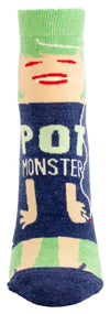 Blue Q Womens SW606 Cotton Ankle Fashion Socks, Pot Monster, One Size