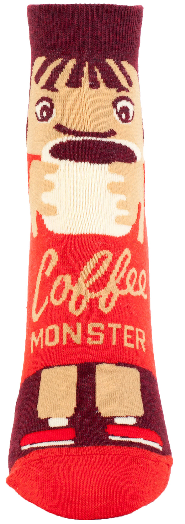 Blue Q Womens SW607 Cotton Ankle Fashion Socks, Coffee Monster, One Size